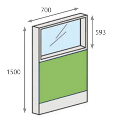 パーテーションLPX 上部ガラスパネル 高さ1500 幅700 ライム