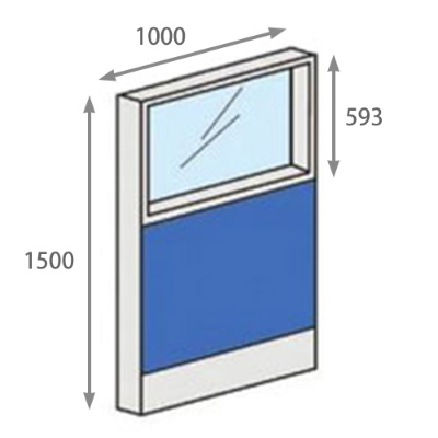 パーテーションLPX 上部ガラスパネル 高さ1500 幅1000 ブルー