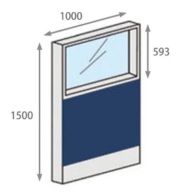パーテーションLPX 上部ガラスパネル 高さ1500 幅1000 ネイビー