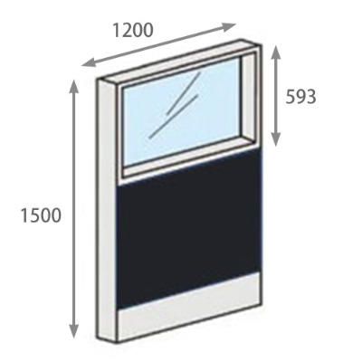 パーテーションLPX 上部ガラスパネル 高さ1500 幅1200 ブラック