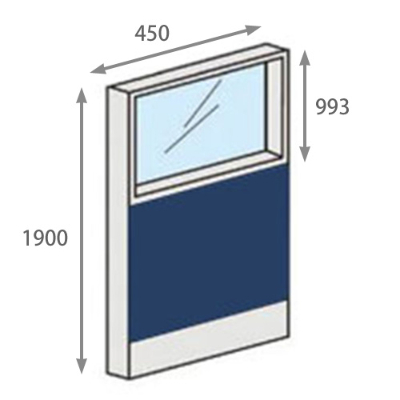 パーテーションLPX 上部ガラスパネル 高さ1900 幅450 ネイビー