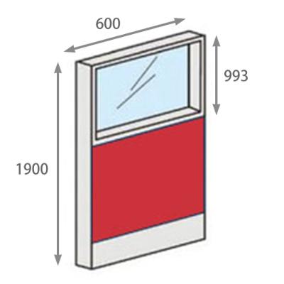 パーテーションLPX 上部ガラスパネル 高さ1900 幅600 レッド