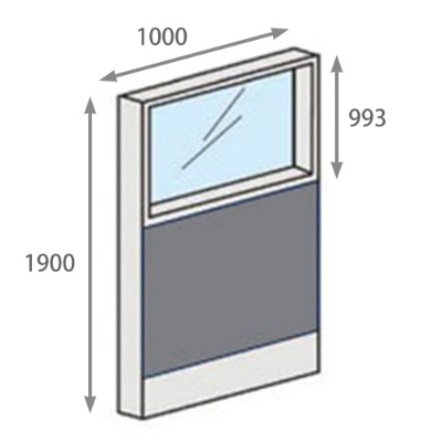 パーテーションLPX 上部ガラスパネル 高さ1900 幅1000 グレー