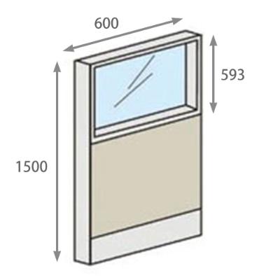 パーテーションLPX 上部ガラスパネル 高さ1500 幅600 スチール ホワイト