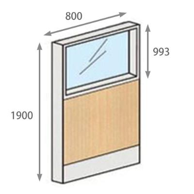パーテーションLPX 上部ガラスパネル 高さ1900 幅800 ライト木目