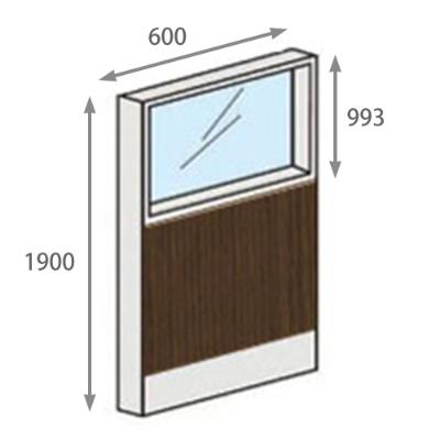 パーテーションLPX 上部ガラスパネル 高さ1900 幅600 ダーク木目