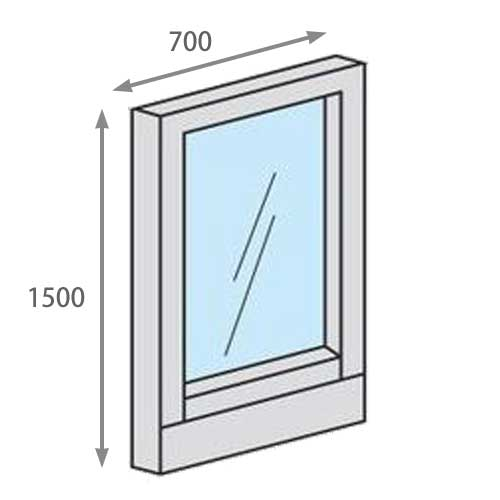 パーテーションLPX 全面透明ガラスパネル 高さ1500 幅700