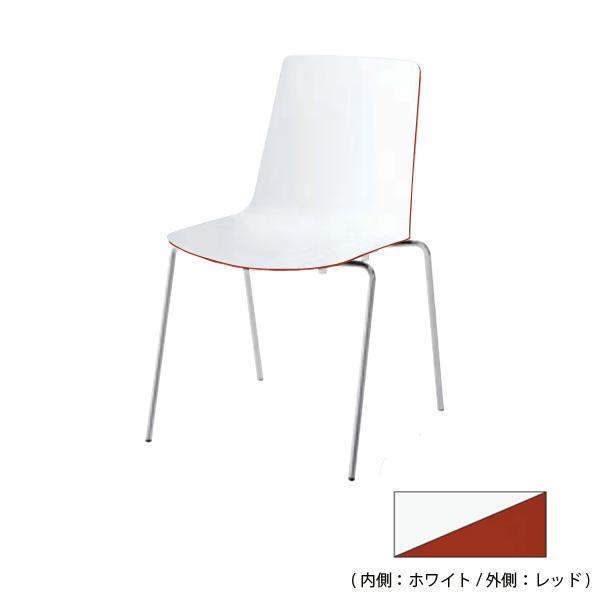 4本脚食堂イス リンケージ ホワイト+レッド