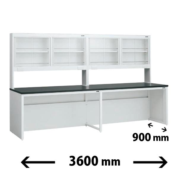 実験台 片面 ガラス戸上置棚タイプ 幅3600mm