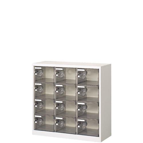 3列4段12人用シューズボックス 樹脂扉 シリンダー錠