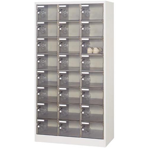 3列8段24人用シューズボックス 樹脂扉 シリンダー錠
