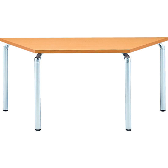 台形会議テーブル 幅1650 奥行715 アルミダイキャストシルバー脚 メープル天板