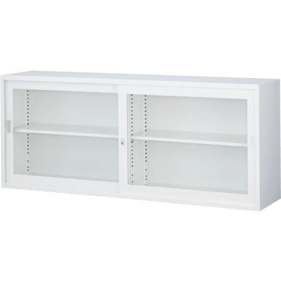 ガラス引戸書庫 上置用 ホワイト 幅1760×奥行400×高さ730mm
