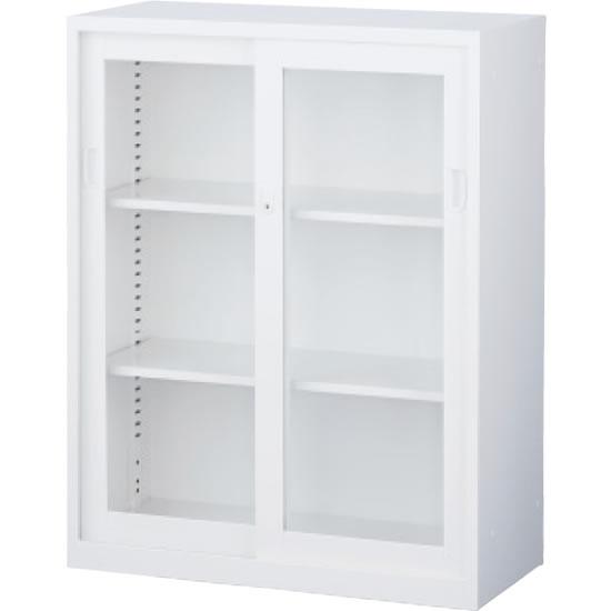 ガラス引戸書庫 下置用 ホワイト 幅880×奥行400×高さ1120mm