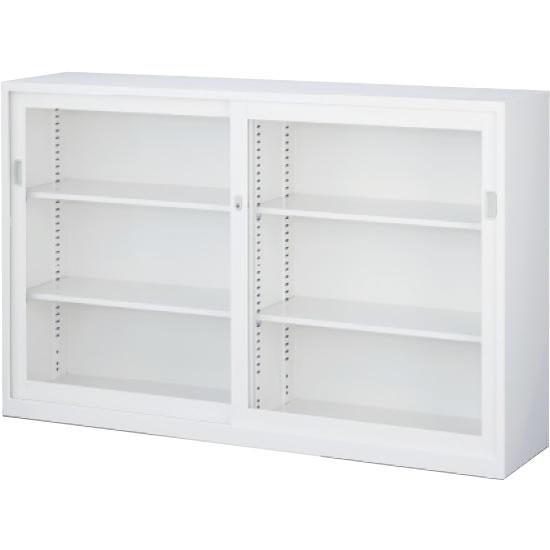 ガラス引戸書庫 下置用 ホワイト 幅1760×奥行400×高さ1120mm