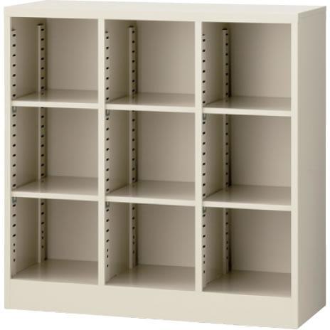 オープン書庫(3列) ニューグレー 幅900×奥行350×高さ900mm