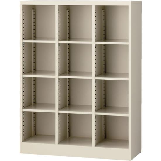 オープン書庫(3列) ニューグレー 幅900×奥行350×高さ1200mm