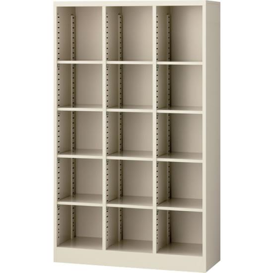 オープン書庫(3列) ニューグレー 幅900×奥行350×高さ1500mm