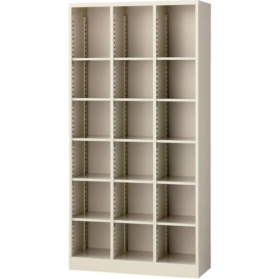 オープン書庫(3列) ニューグレー 幅900×奥行350×高さ1800mm