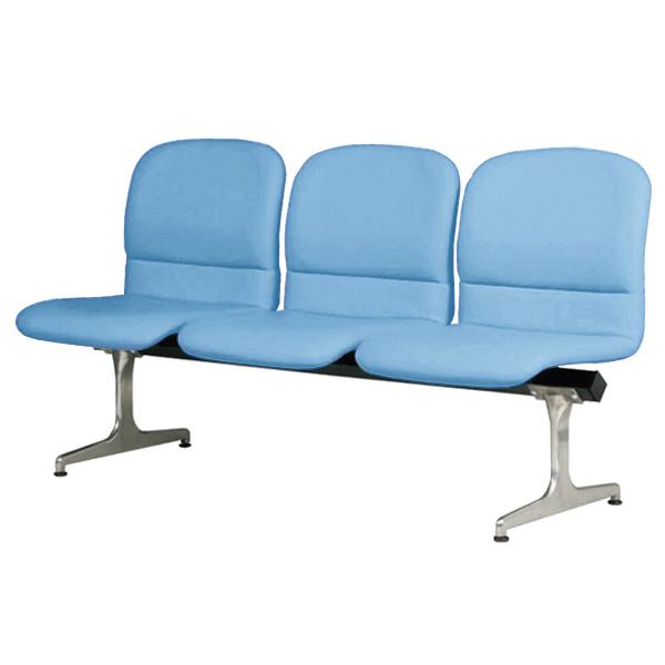 ロビーチェアー ブルー 幅1480mm 背もたれ付き 3人掛け