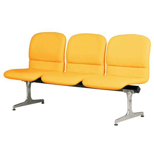 ロビーチェアー オレンジ 幅1480mm 背もたれ付き 3人掛け