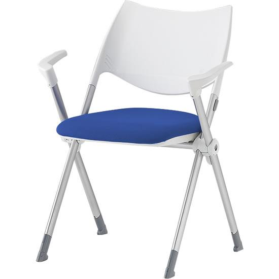 スタッキングミーティングチェア 肘付き 背樹脂 座ブルー