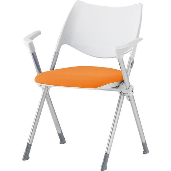 スタッキングミーティングチェア 肘付き 背樹脂 座オレンジ