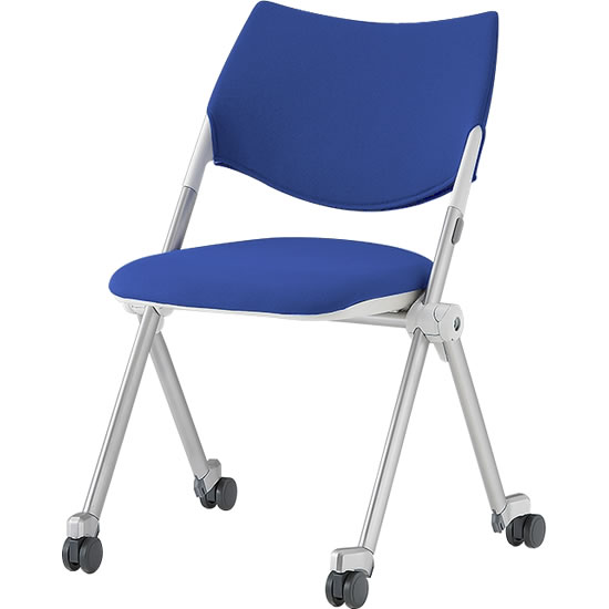 スタッキングミーティングチェア キャスター脚 背座ブルー