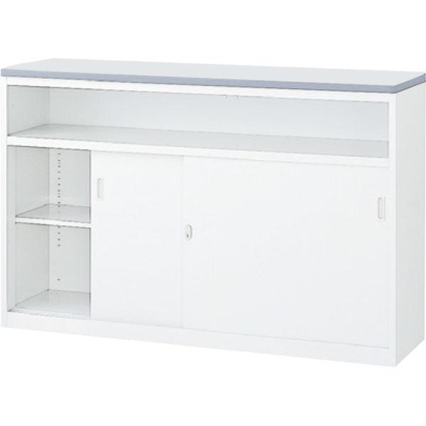 ハイカウンター NS 中棚付引戸タイプ 幅1500 本体色:ホワイト 天板色:ホワイト