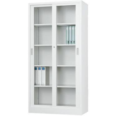ガラス引戸書庫 下置用 ホワイトグレー 幅880×奥行515×高さ1790mm