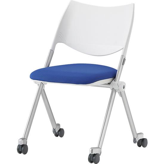 スタッキングミーティングチェア キャスター脚 背樹脂 座ブルー