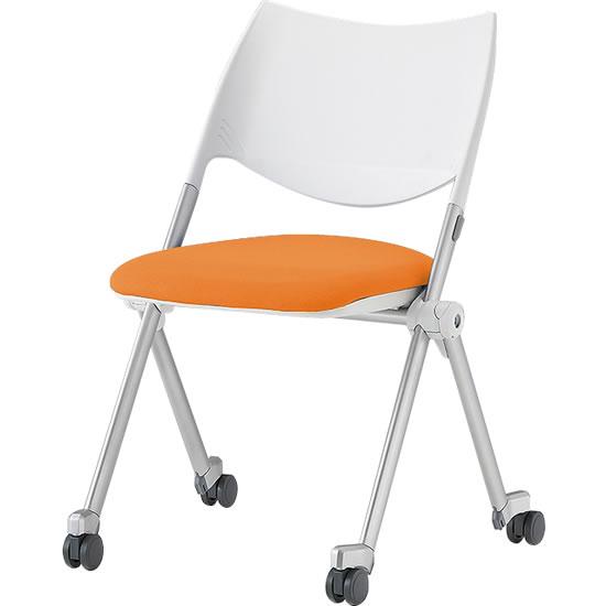 スタッキングミーティングチェア キャスター脚 背樹脂 座オレンジ