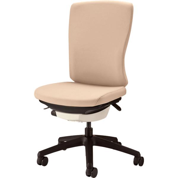 オフィスチェア 「バーサル」 布張り 肘無し ハイバック シェル:白/脚:黒 サンドベージュ