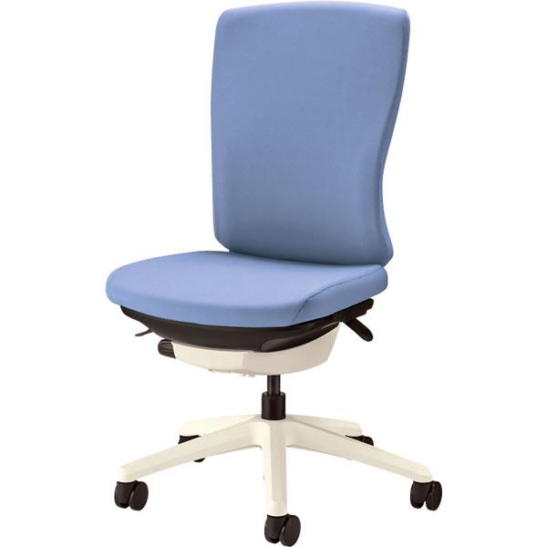 オフィスチェア 「バーサル」 布張り 肘無し ハイバック シェル:白/脚:白 アクアブルー