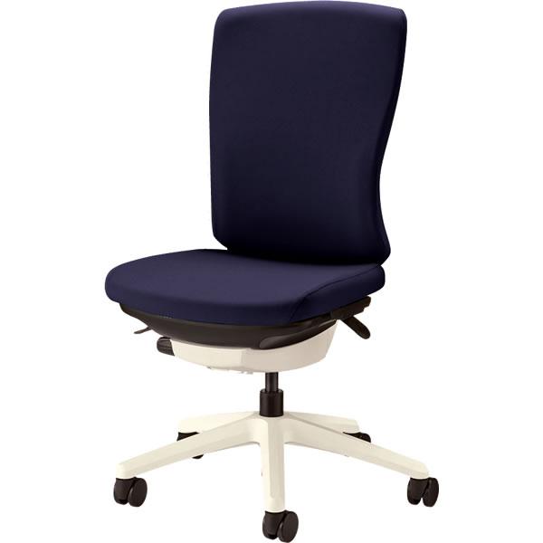 オフィスチェア 「バーサル」 布張り 肘無し ハイバック シェル:白/脚:白 コズミックブルー