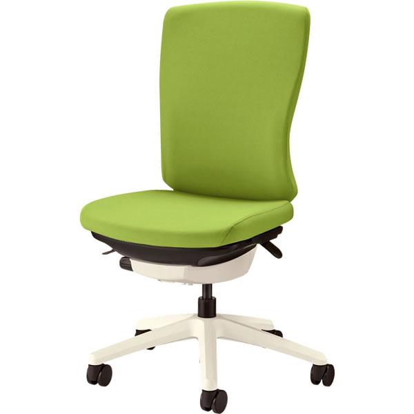 オフィスチェア 「バーサル」 布張り 肘無し ハイバック シェル:白/脚:白 アップルグリーン