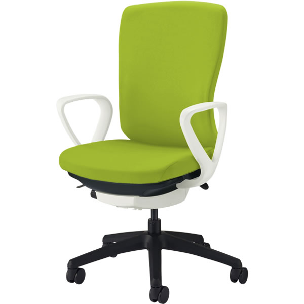 オフィスチェア 「バーサル」 布張り 肘付き(サークルアーム) ハイバック シェル:白/脚:黒 アップルグリーン