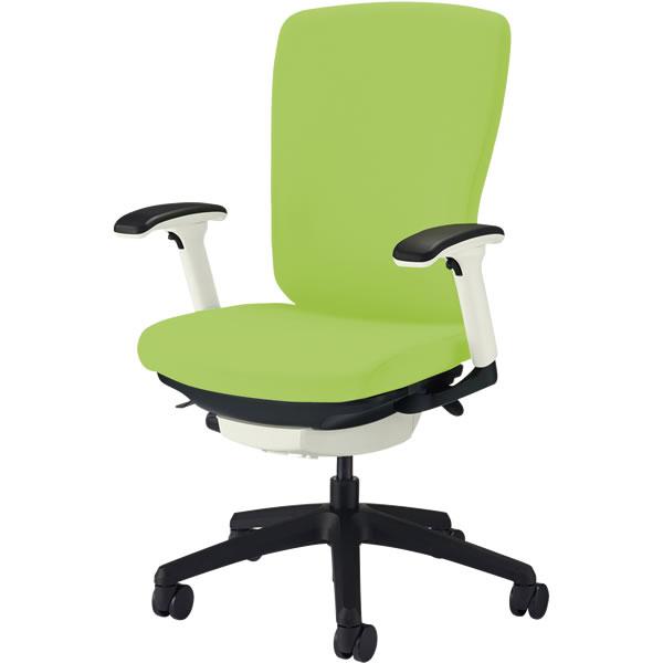オフィスチェア 「バーサル」 布張り 肘付き(フレキシブルアーム) ハイバック シェル:白/脚:黒 アップルグリーン
