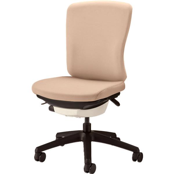 オフィスチェア 「バーサル」 布張り 肘無し ミドルバック シェル:白/脚:黒 サンドベージュ