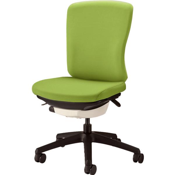 オフィスチェア 「バーサル」 布張り 肘無し ミドルバック シェル:白/脚:黒 アップルグリーン