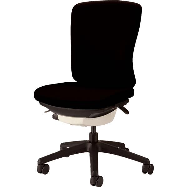 オフィスチェア 「バーサル」 布張り 肘無し ミドルバック シェル:白/脚:黒 ブラック