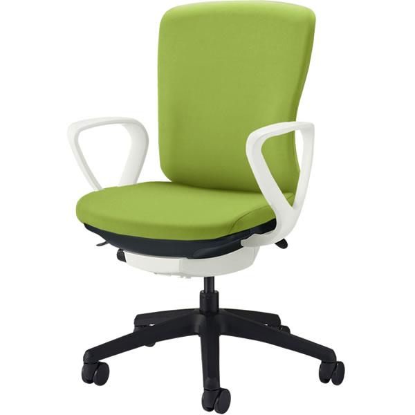 オフィスチェア 「バーサル」 布張り 肘付き(サークルアーム) ミドルバック シェル:白/脚:黒 アップルグリーン