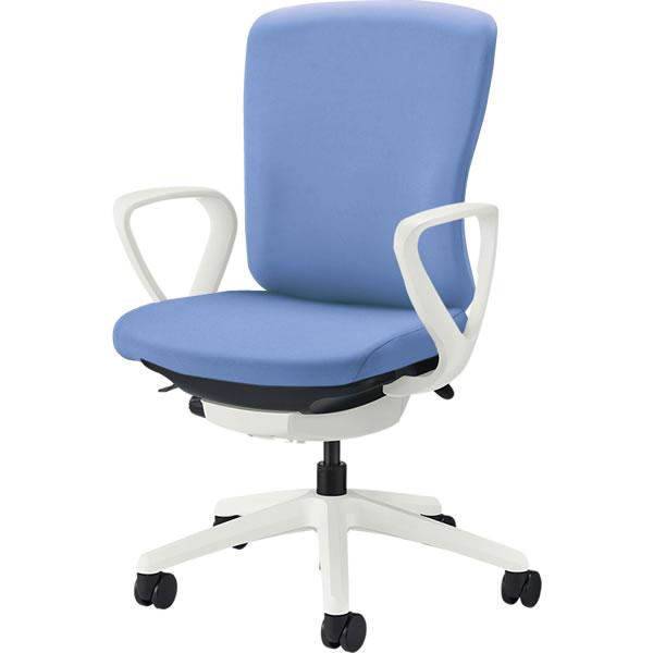 オフィスチェア 「バーサル」 布張り 肘付き(サークルアーム) ミドルバック シェル:白/脚:白 アクアブルー