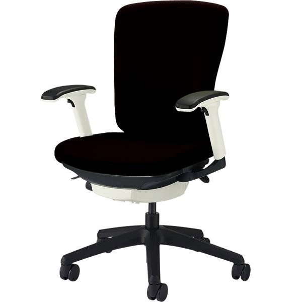 オフィスチェア 「バーサル」 布張り 肘付き(フレキシブルアーム) ミドルバック シェル:白/脚:黒 ブラック