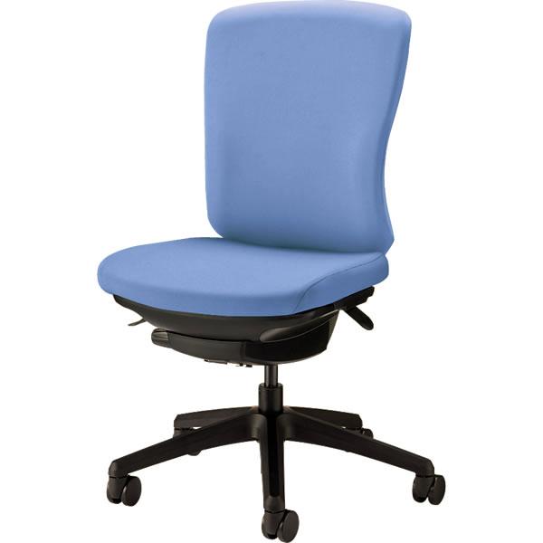 オフィスチェア 「バーサル」 布張り 肘無し ミドルバック シェル:黒/脚:黒 アクアブルー