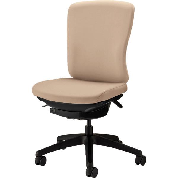 オフィスチェア 「バーサル」 布張り 肘無し ミドルバック シェル:黒/脚:黒 サンドベージュ