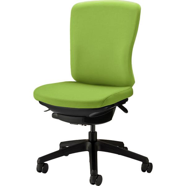 オフィスチェア 「バーサル」 布張り 肘無し ミドルバック シェル:黒/脚:黒 アップルグリーン