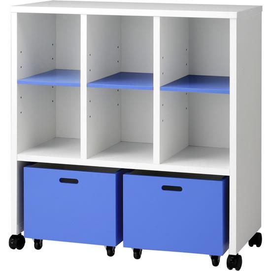 保育施設用収納棚 ワゴン付オープン ブルー