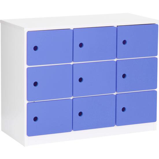 保育施設用収納棚 扉付 ブルー