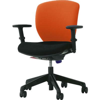 オフィスチェア「シルフィード」布張り 肘付き(フレキシブルアーム) ローバック シャインオレンジ